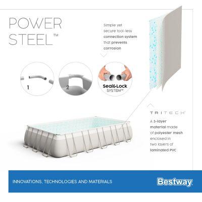 Bestway Power Steel 24' x 12' x 52/7.32m x 3.66m x 1.32m Rectangular Pool