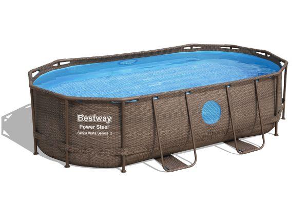Bestway Power Steel Swim Vista Series 14'x8'2x39.5/4.27m x2.50m x1.00m Oval Pool