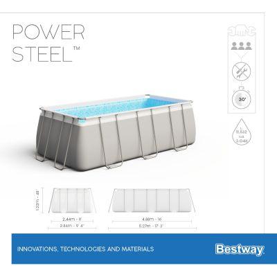 Cadre et liner de piscine hors sol rectangulaire Power Steel gris 488x244x122cm